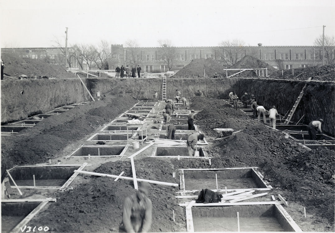 Photograph showing construction project at the University of Oklahoma in the 1930s